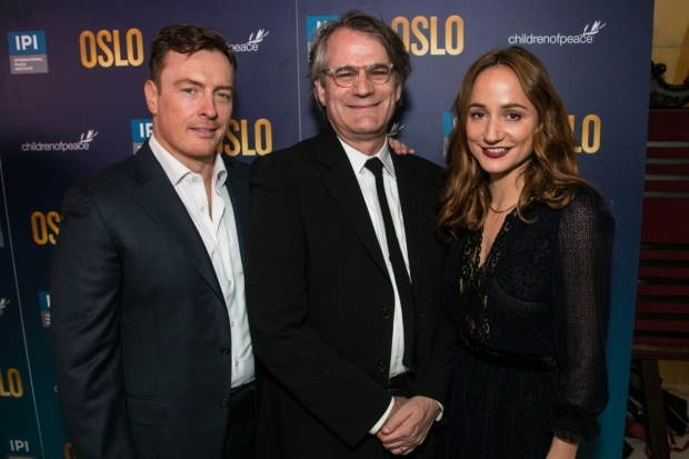 <p>Toby Stephens (Terje Rod-Larsen), Bartlett Sher (director) and Lydia Leonard (Mona Juul)</p><br />© Dan Wooller for WhatsOnStage