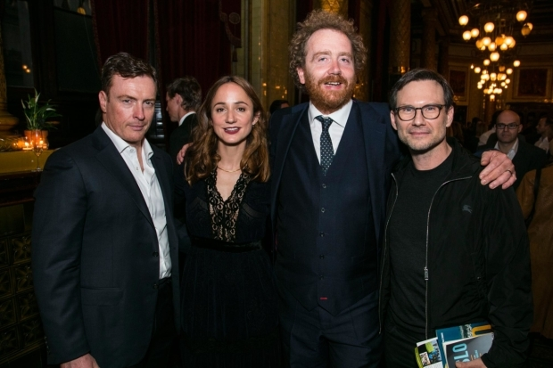 <p>Toby Stephens (Terje Rod-Larsen), Lydia Leonard (Mona Juul), Adam Speers (producer) and Christian Slater</p><br />© Dan Wooller for WhatsOnStage
