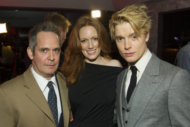 <p>Tom Hollander (Henry Carr), Clare Foster (Cecily) and Freddie Fox (Tristan Tzara)</p><br />© Dan Wooller for WhatsOnStage