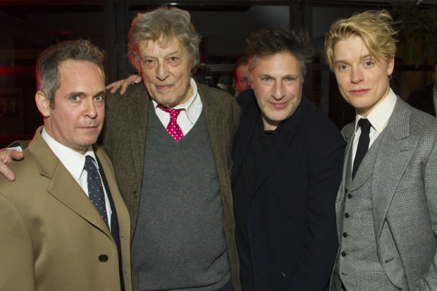 <p>Tom Hollander (Henry Carr), Tom Stoppard (author), Patrick Marber (director) and Freddie Fox (Tristan Tzara)</p><br />© Dan Wooller for WhatsOnStage