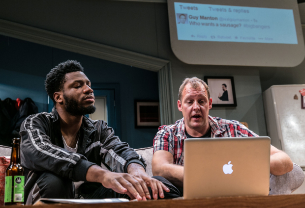 <p>Tom Moutchi and  Justin Edwards (l-r) in <em>Twitstorm</em></p><br />© Darren Bell
