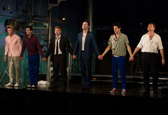 <p>Tom Rhys Harries (Silver Johnny), Ben Whishaw (Baby), Rupert Grint (Sweets), Daniel Mays (Potts), Colin Morgan (Skinny) and Brendan Coyle (Mickey) at the curtain call</p>