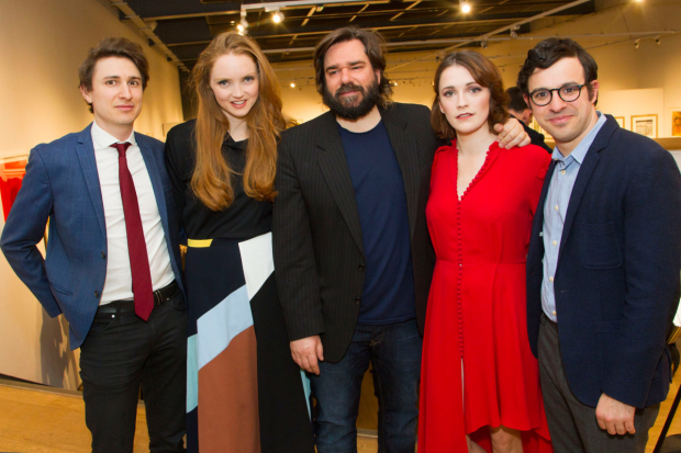 <p>Tom Rosenthal (Donald), Lily Cole (Araminta), Matt Berry (Braham), Charlotte Ritchie (Celia) and Simon Bird (Philip)</p><br />© Dan Wooller for WhatsOnStage