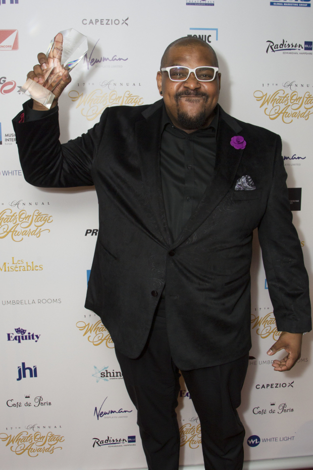 <p>Trevor Dion Nicholas accepts the award for Best Supporting Actor in a Musical for <em>Aladdin</em></p><br />© Dan Wooller for WhatsOnStage