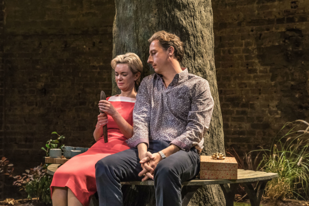 <p>Victoria Hamilton (Audrey Walters) and Nicholas Rowe (Paul Walters) in <em>Albion</em></p><br />(c) Marc Brenner
