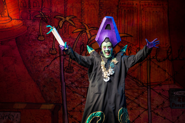 <p>Vikki Stone as Abanazer in <em>Aladdin</em></p><br />©  Helen Murray