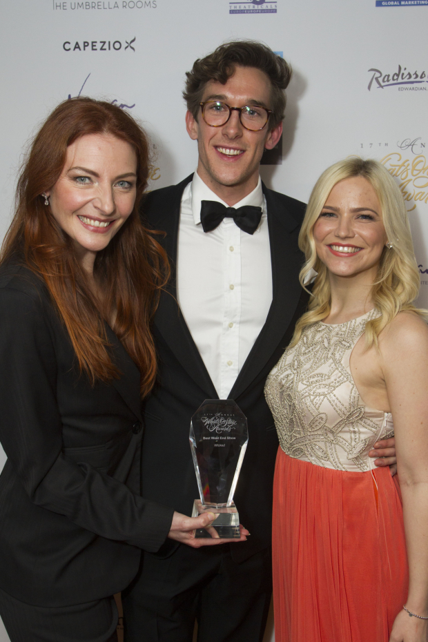 <p>Willemijn Verkaik, Oliver Savile and Suzie Mathers accept the award for Best West End Show for <em>Wicked</em></p><br />© Dan Wooller for WhatsOnStage