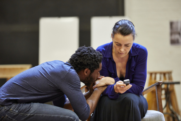 <p>Yoli Fuller and Olivia Williams in rehearsals  for <em>Mosquitoes</em> </p><br />© Brinkhoff/Moegenburg