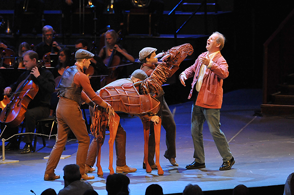 <p>Young Joey and Michael Morpurgo at the <em>War Horse</em> Prom, BBC Proms 2014.</p><br />© BBC/Chris Christodoulou