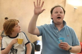 Rehearsal images: Justin Fletcher and the cast of The Tale of Mr Tumble