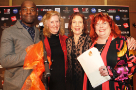 Winners of the Offies celebrate their awards at party in London