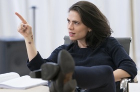 Hayley Atwell rehearses Dry Powder at Hampstead Theatre