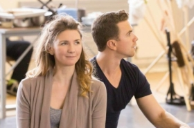 Summer Strallen and Richard Fleeshman rehearse A Damsel in Distress