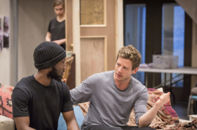 James Norton, Imogen Poots, Malachi Kirby and Faith Alabi in rehearsals for Belleville