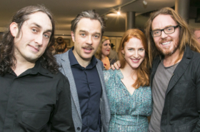 Joan Collins, Tim Minchin and Rosalie Craig at the Young Frankenstein opening night