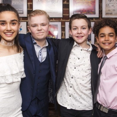 The cast of The Secret Diary of Adrian Mole celebrate opening performance