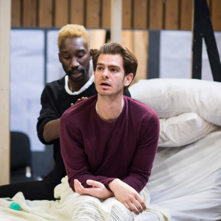 Andrew Garfield and the cast of Angels in America in rehearsals