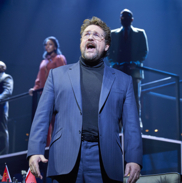 Michael Ball, Alexandra Burke and Cassidy Janson in the Chess West End revival