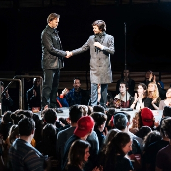 Ben Whishaw, Michelle Fairley and David Morrissey in Julius Caesar