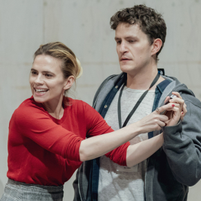 Hayley Atwell and Jack Lowden in rehearsals for Measure for Measure at Donmar Warehouse